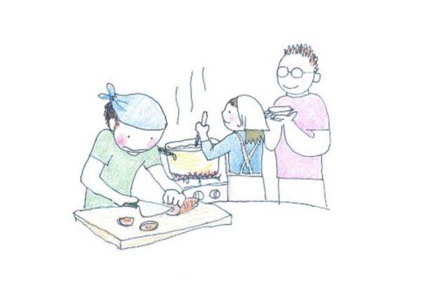 みんなで料理を作っているイメージ画像
